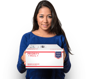 Woman holding Priority Mail box