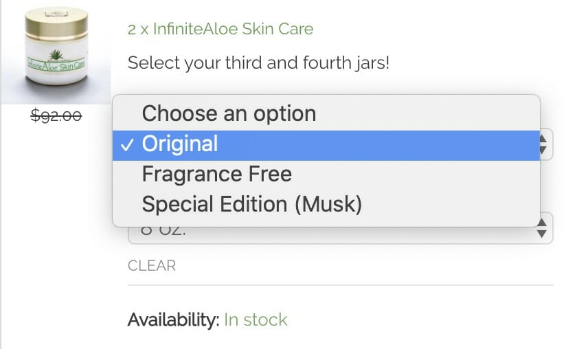 Size or Scent Selection Options