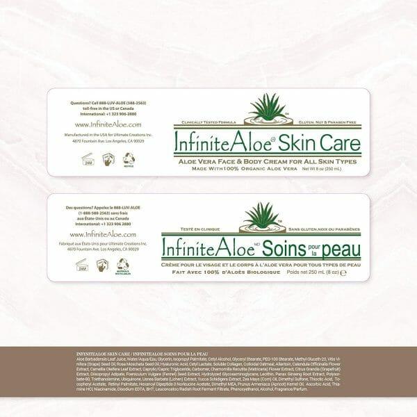 InfiniteAloe Skin Care label